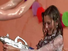 Party girls getting wet and dirty for fun