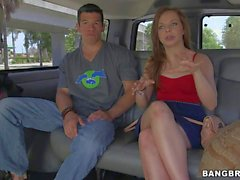 Amateur hot brunette in skirt gets lured in bang bus