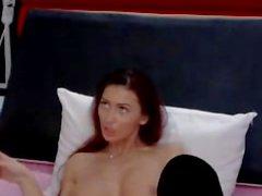 Brunette in bikini masturbates on cam