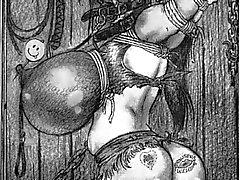 jättiläinen köysi sidottu rintojen bdsm