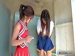 Two super hot brunette teen cheerleaders