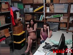 Two kinky girls banged on table