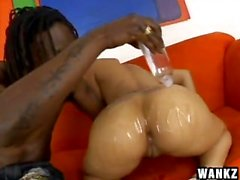 Black MILF Chyanne Jacobs banged hard and creampied on the Sofa!