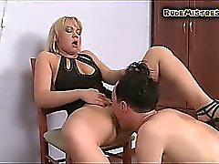 Guy Spanked While Licking Pussy