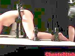 Lezdom mistress spanking pathetic slave