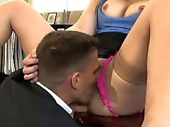 Sexy Dani sits on a fat shaft