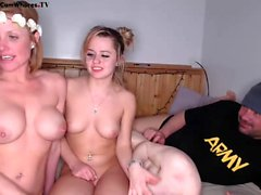 Amateur blonde teen in group fuck