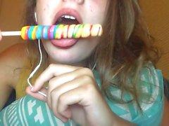 ASMR eating lollipop