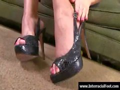 Foot fetish - sexy babes fuck cock with their feet 09