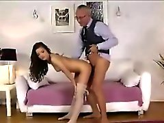 Older British guy fucks girl in stockings