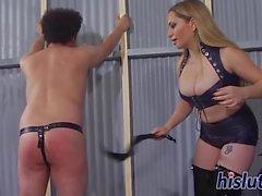 Foxy bitch spanks a naughty stud