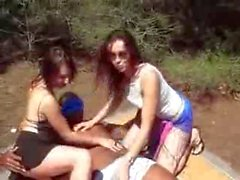 2 French Babes in a Outdoor Threesome