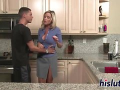 Lusty Jodi goes wild in a kitchen