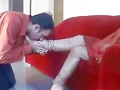 Paki Begum Mistress in Red Shalwar Kameez Foot Worshipped by Muslim Slave