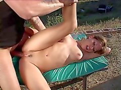 Smoking hot brunette climbs the hill & the cock