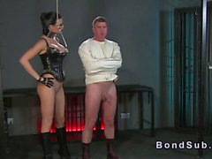Straight jacket slave wanked by his bdsm brunette domina