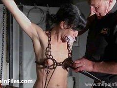 Breaking Elise Graves in hard dungeon tit tortures and suspension bondage