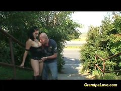 grandpa fucks cute teen at the street