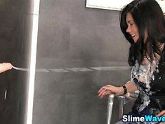 Glam bukkake whore slimed