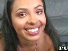 Latina girl handjob and swallow
