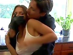 Cali Logan and Charlie Laine bound and gagged by robbers