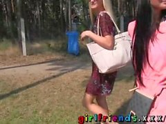 Girlfriends Hot black haired babe eats pussy in public forest