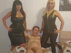 Andrea Dipre tries to fuck Mistress Kelly Viola and Mistress Lara Von Lush