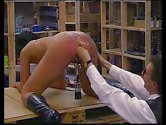 Hard anal fist fucking with pussy weights