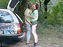 Sex in nature - creampie (amateur couple)
