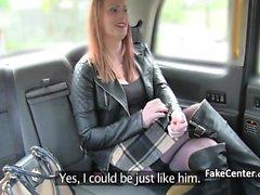 Redhead tattooed BBW fucked in taxi
