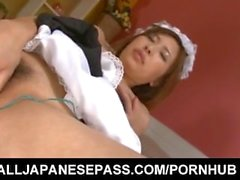 Ami Kurosawa maid with round cans gets vibrators in hairy pussy