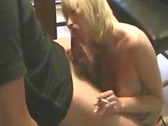 Blonde MILF stepmom smoking sex