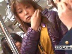 japan lesbian threesome public train car fingering