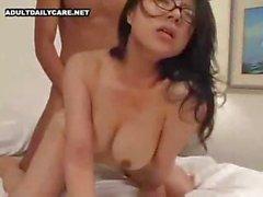 Milf in glasses tastes a cock