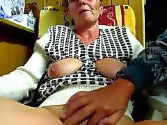 Grandpa masturbates his wife with fingers