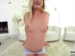 Blonde Teen pleasures in a VR pussy dildo fuck