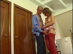 Russian mature Christie fucked by guard
