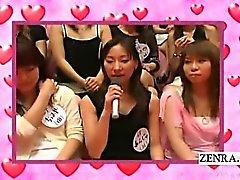 Subtitled CFNM Japanese massive handjob blowjob event