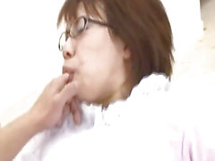 Akane Fujimoto maid with specs sucks cock and gets doggy style