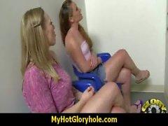 Horny Lady Enjoys Gloryhole Cocksucking Interracial 27