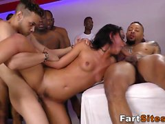 Babe fucks black group