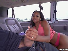 Ebony with massive ass fucked on the bus