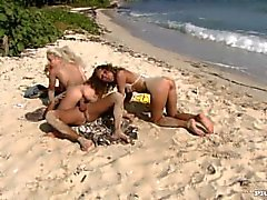 Lauren May and Nesty Enjoy the Beach While Taking a Dick in Their Twat