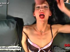 Beautiful brunettes experiencing hardcore bukkake satisfaction