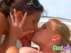 Cute Lesbian Sluts Outdoors On The Boat