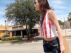 Pretty teen Tali Dava nailed by stranger in the backseat