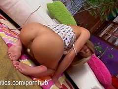 Marina Angel masturbating using her golden toy