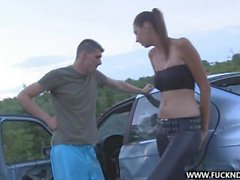 Kitty Jane hard fucked outdoor on the car