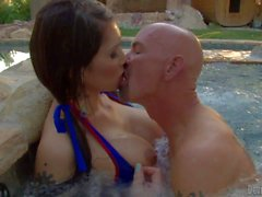 Tranny girl Eva Lin gets sucked in the pool