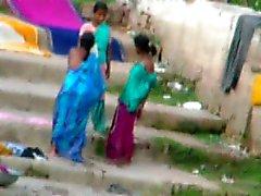 Indian Aunty bath in River 3